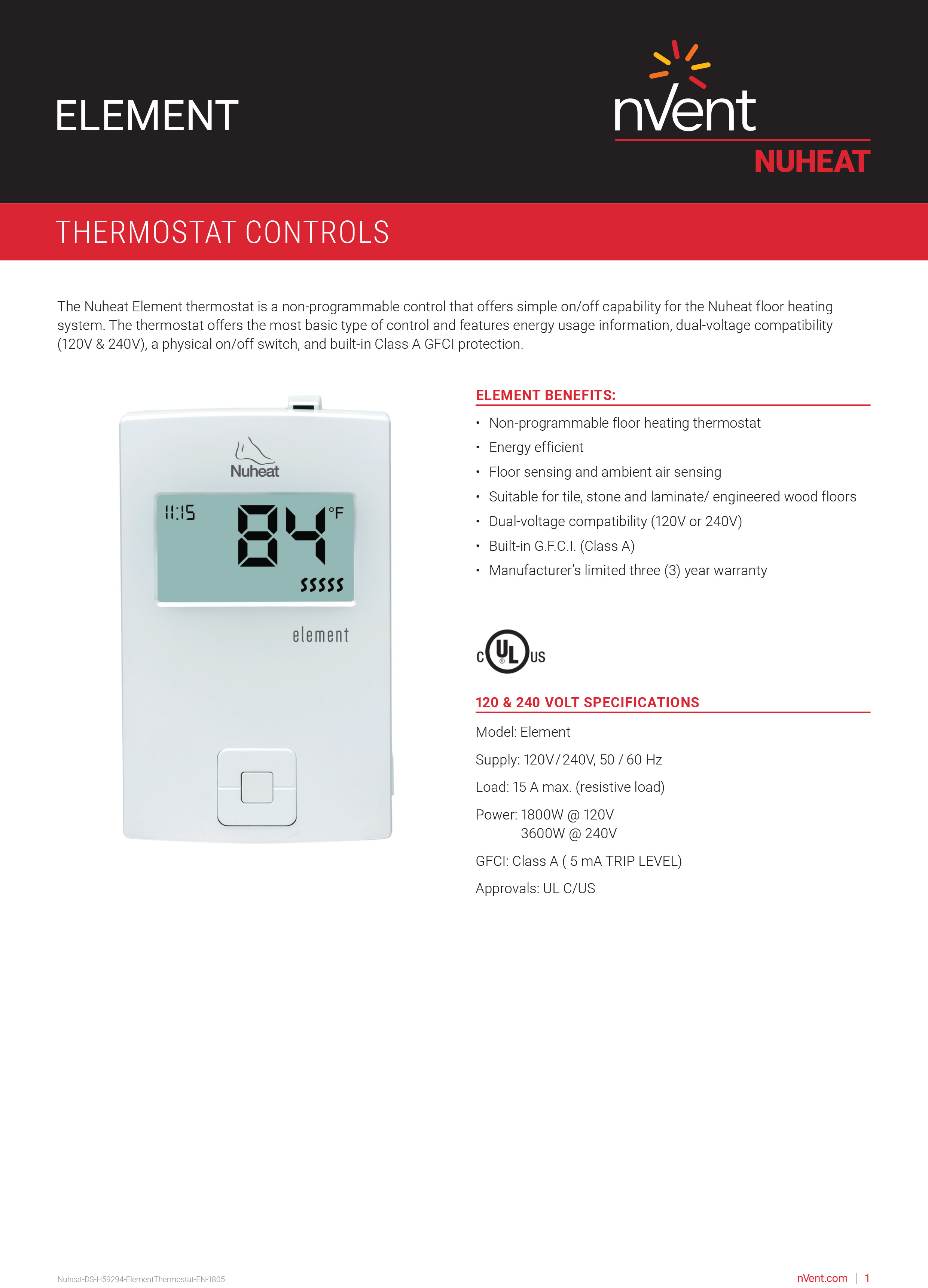 Element Thermostat By Nuheat Floor Heating
