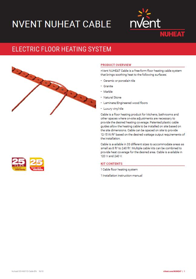 240 V 65 sq NuHeat nVent Floor Radiant Heat Cable N2C065 ft.+ Home Programmable Thermostat AC0056